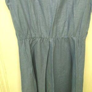 Vintage Dresses - Linen Blend Sleeveless Shirt Dress Size 10